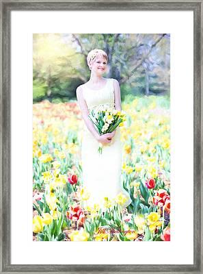 Vintage Val Spring Tulips Framed Print by Jill Wellington