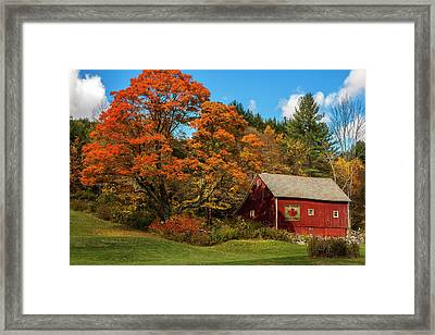 Vintage Vermont - Red Barn Framed Print by Thomas Schoeller