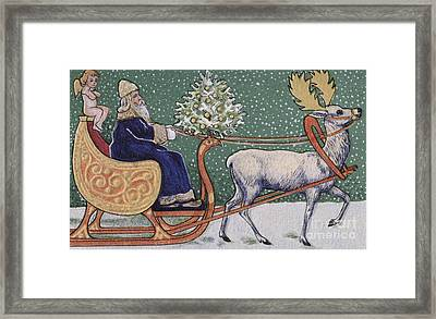 Vintage Victorian Depicting Father Christmas On His Sleigh Framed Print