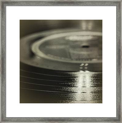 Vintage Vinyl Square Black And White Framed Print by Terry DeLuco