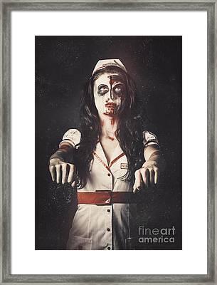 Vintage Walking Dead Horror Nurse Framed Print by Jorgo Photography - Wall Art Gallery