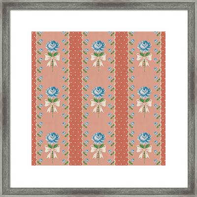 Framed Print featuring the digital art Vintage Wallpaper Blue Roses Coral Polka Dots by Tracie Kaska