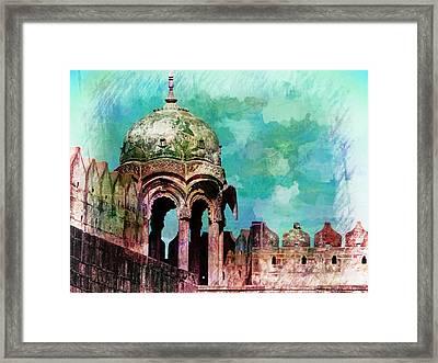 Vintage Watercolor Gazebo Ornate Palace Mehrangarh Fort India Rajasthan 2a Framed Print