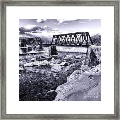 Vintage Waterville Railroad Bridge Framed Print by Olivier Le Queinec