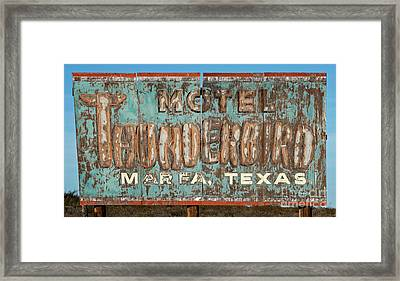 Framed Print featuring the photograph Vintage Weathered Thunderbird Motel Sign Marfa Texas by John Stephens