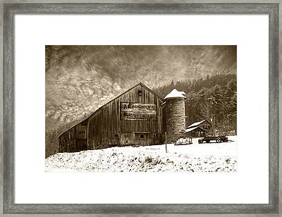 Vintage Weathered Winter Storm Barn Arbuckles Coffee Sign Framed Print
