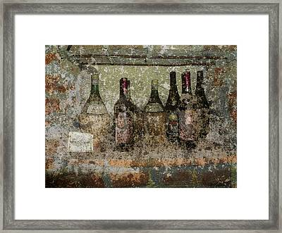 Vintage Wine Bottles - Tuscany  Framed Print by Jen White