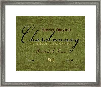 Vintage Wine Label Print Chardonnay Framed Print