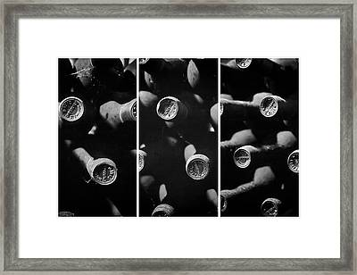 Vintage Wine Triptych Panel Framed Print by Georgia Fowler