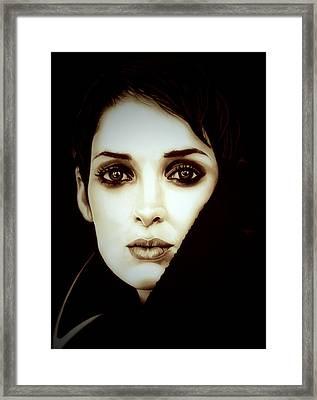 Vintage Winona Ryder Framed Print by Fred Larucci