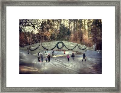 Vintage Winter Ice Skating Scene  Framed Print by Joann Vitali