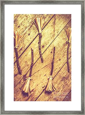 Vintage Witches Broomsticks Framed Print