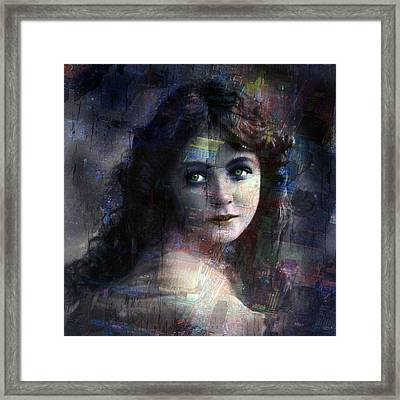 Vintage Woman Pop With Modern Highlights Blue Square Framed Print