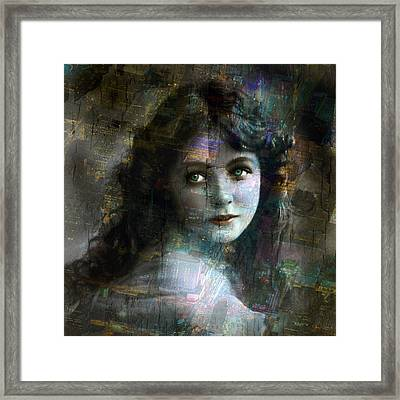 Vintage Woman Pop With Modern Highlights Sepia Square Framed Print