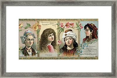 Vintage Women's Hair Tonic Product Label Framed Print by Edward Fielding