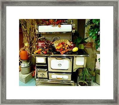 Vintage Wood Stove Framed Print