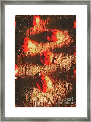 Vintage Wooden Ladybugs Framed Print by Jorgo Photography - Wall Art Gallery
