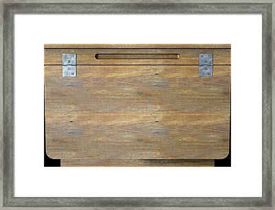 Vintage Wooden School Desk Closeup Framed Print by Allan Swart