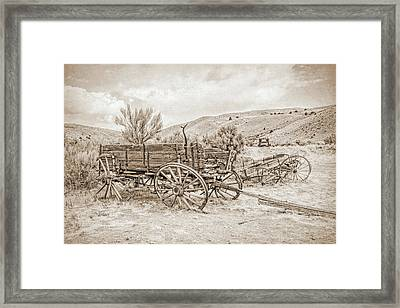 Vintage Wooden Wagon Montana Framed Print