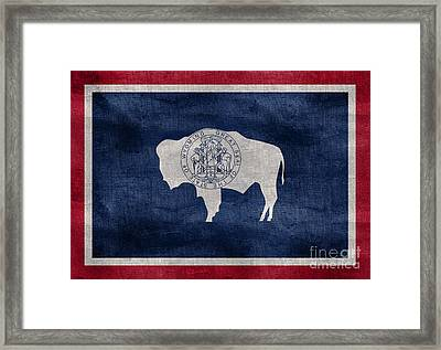 Vintage Wyoming Flag Framed Print by Jon Neidert