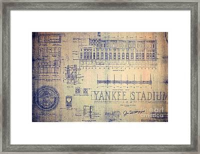 Vintage Yankee Stadium Blueprint Signed By Joe Dimaggio Framed Print