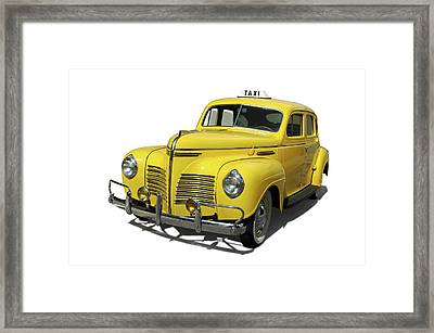 Vintage Yellow Cab Framed Print by Edwin Verin