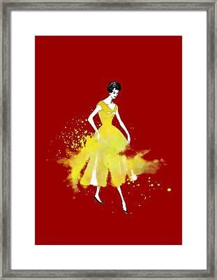 Vintage Yellow Dress Framed Print by Diana Van