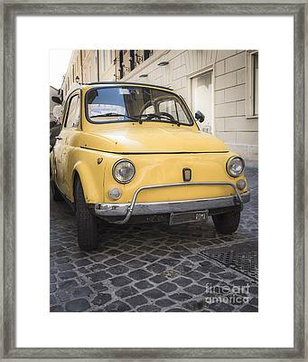 Vintage Yellow Fiat 500 In Rome Framed Print by Edward Fielding