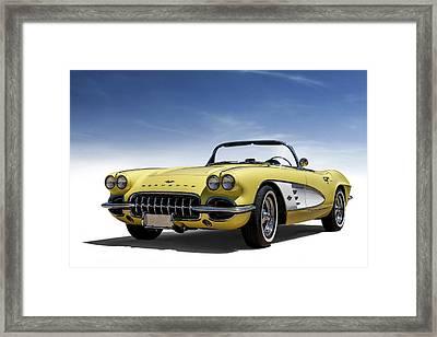 Vintage Yellow 'vette Framed Print