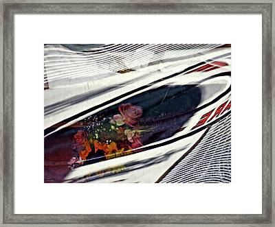 Vinyl Curtain And Flowers 3 Framed Print
