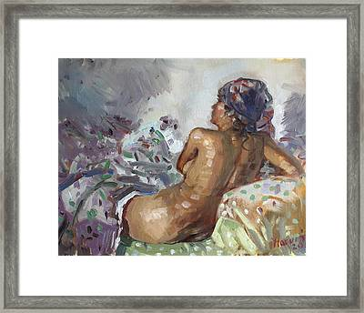 Nude In Violet Framed Print by Ylli Haruni