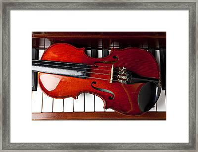 Viola On Piano Keys Framed Print by Garry Gay