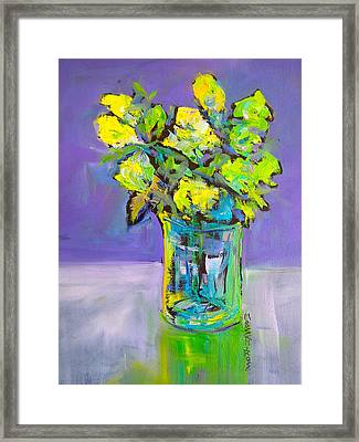 Framed Print featuring the painting Violet And Lime by Mary Schiros