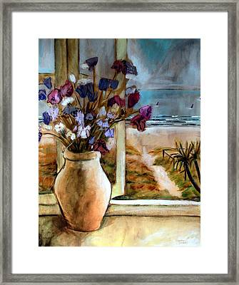 Violet Beach Flowers Framed Print