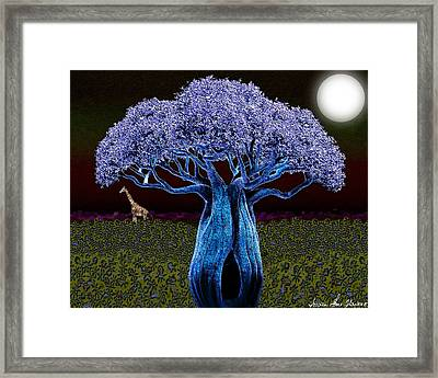 Framed Print featuring the digital art Violet Blue Baobab by Iowan Stone-Flowers
