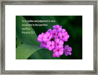 Violet Flowers With Proverbs Scripture Framed Print by Linda Phelps