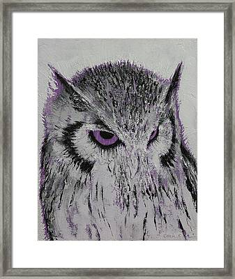 Violet Owl Framed Print by Michael Creese