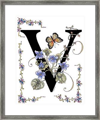 Violets And A Viceroy Butterfly Framed Print