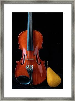 Violin And Golden Pear Framed Print
