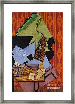 Violin And Playing Cards On A Table, 1913 Framed Print by Juan Gris