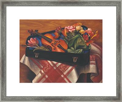 Violin Case And Flowers Framed Print by Mark Gertler