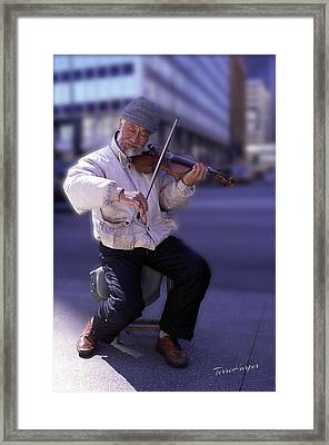 Violin Guy Framed Print by Terri Harper