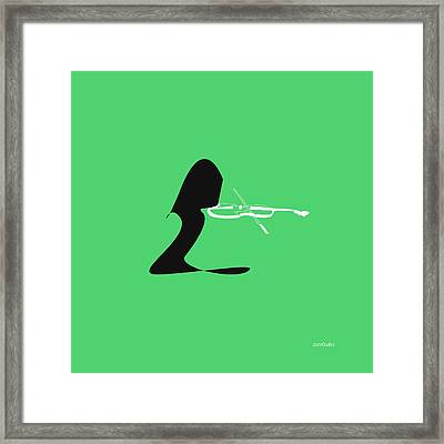 Violin In Green Framed Print