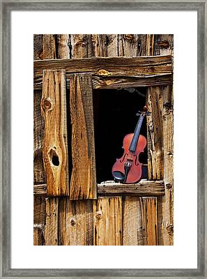Violin In Window Framed Print