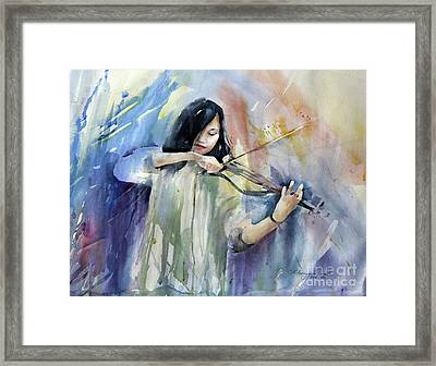 Violin Musician Framed Print by Natalia Eremeyeva Duarte