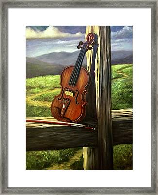 Framed Print featuring the painting Violin by Randol Burns