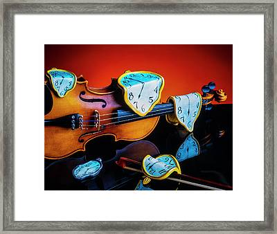 Violin With Melted Watches Framed Print