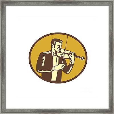 Violinist Musician Playing Violin Woodcut Framed Print