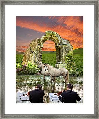 Violinists And Horses In The Swamp Framed Print by Giuseppe Anello