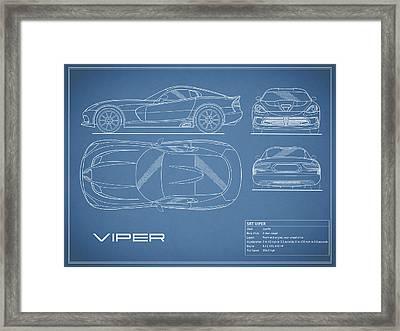 Viper Blueprint Framed Print by Mark Rogan
